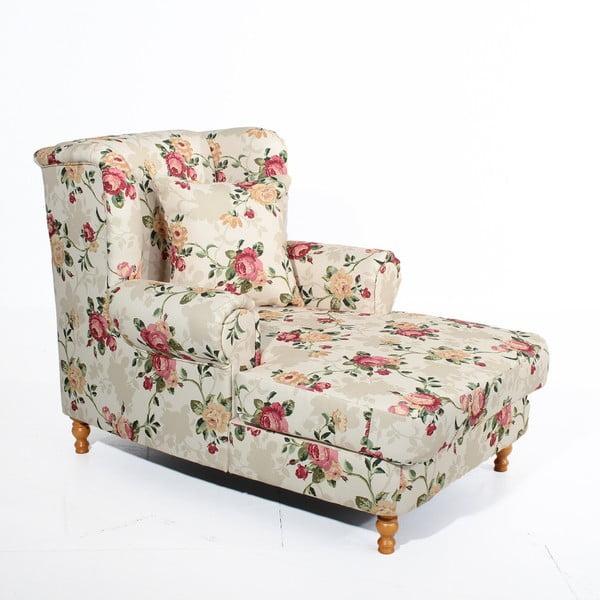 Beżowy fotel w kwiaty Max Winzer Mareille