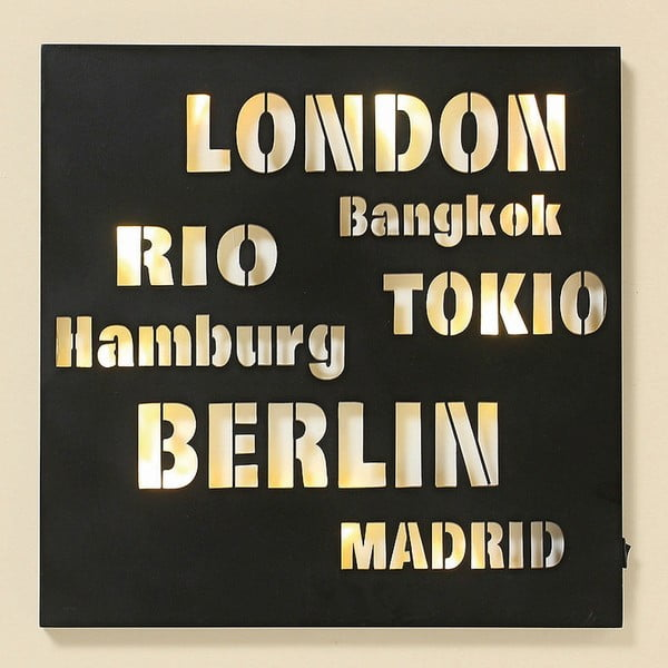 LED obraz Cities, 40x40 cm
