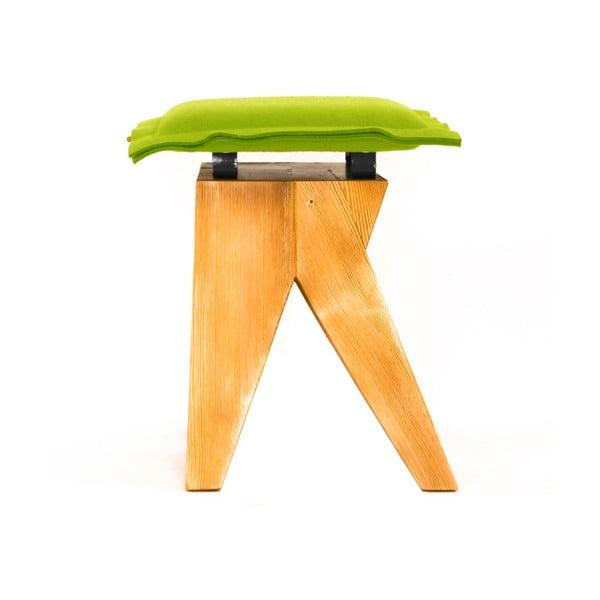 Dřevěná stolička Low, zelená