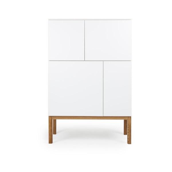 Bílá čtyřdveřová skříňka s nohami z dubového dřeva Tenzo Patch, 92 x 138 cm