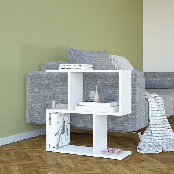 Bílý odkládací stolek Mark, výška60cm