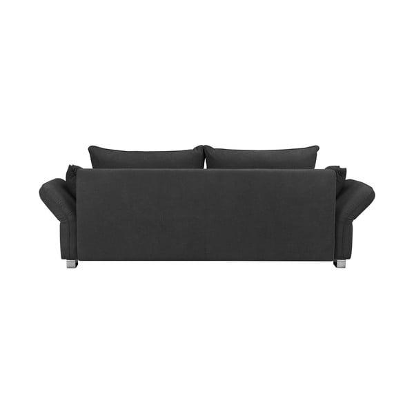 Tmavě šedá trojmístná rozkládací pohovka s úložným prostorem Windsor & Co Sofas Casiopeia