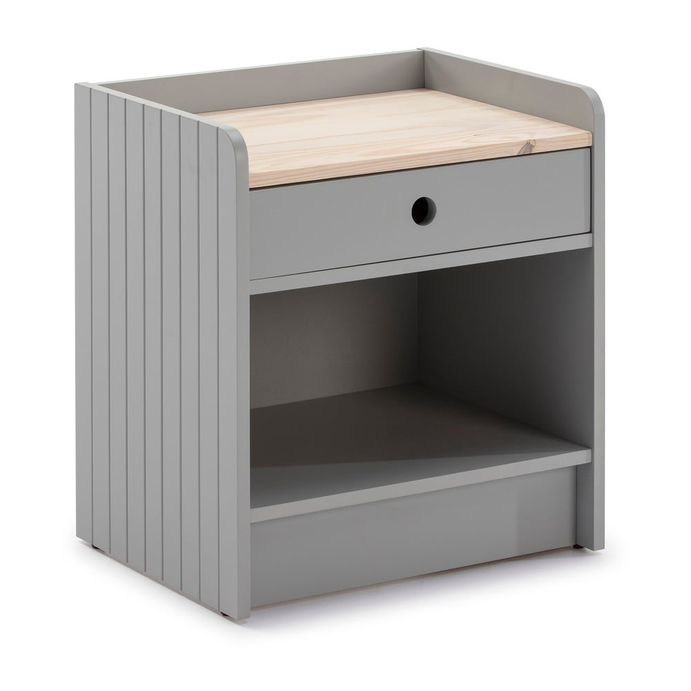 Světle šedý noční stolek s deskou z borovicového dřeva Marckeric Monte