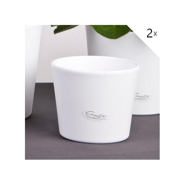 Sada 2 bílých květináčů Matt, 13 cm