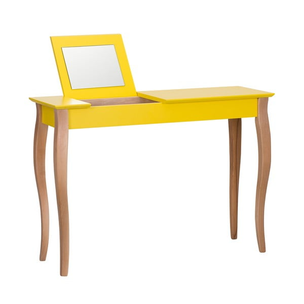 Dressing Table sárga fésülködőasztal tükörrel, hosszúság 105 cm - Ragaba