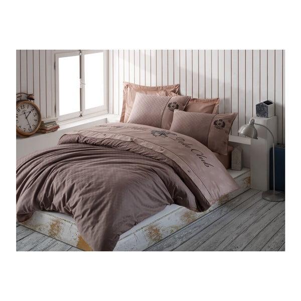 Lenjerie din bumbac satinat pentru pat dublu Brown, 200x220cm