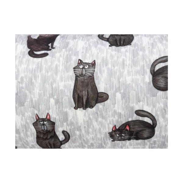 Šedý polštář s motivem kočiček KICOTI