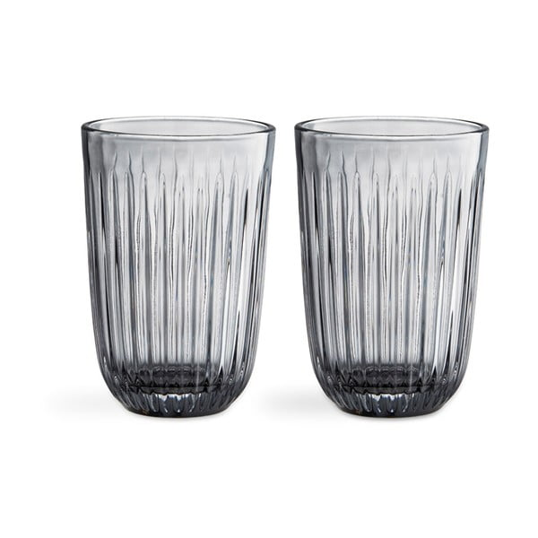 Sada 2 sivých sklenených pohárov Kähler Design Hammershoi, 330 ml