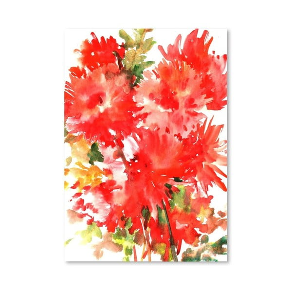 Autorský plakát Red Dahlias od Surena Nersisyana, 42x30cm