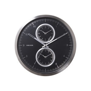 Ceas de perete Present Time Multiple Time, negru