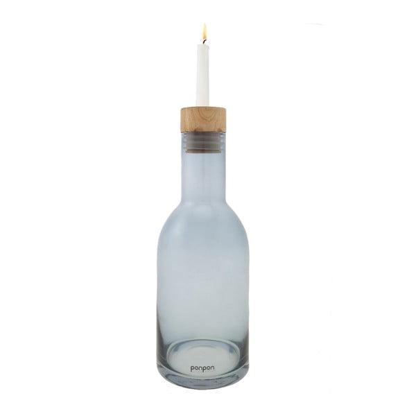 Váza/svícen Bottle 30,5 cm, modrá
