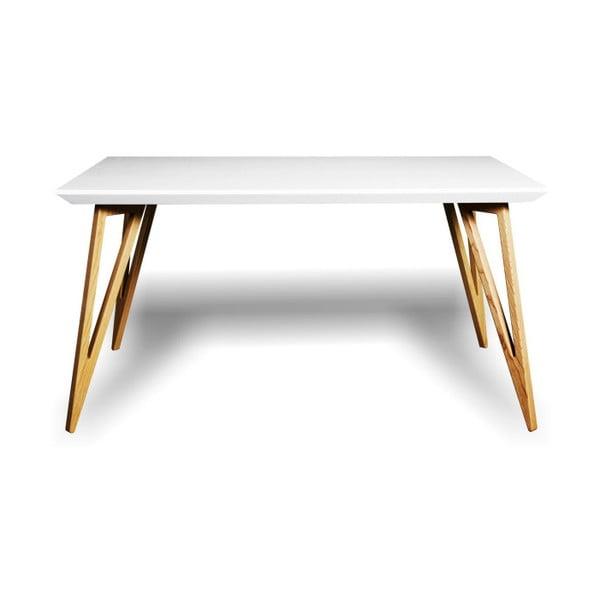 Jídelní stůl z masivního jasanového dřeva s bílou deskou Charlie Pommier Triangle, 140x80cm