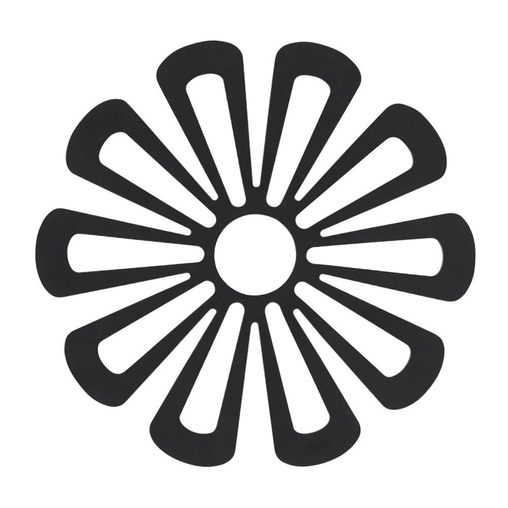 Černá silikonová podložka pod horké nádoby Zone Flower