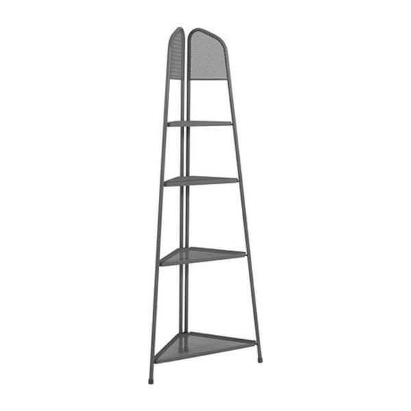 Ciemnoszara metalowa półka narożna na balkon ADDU MWH, wys. 180 cm