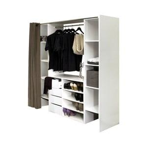 Bílá šatní skříň s šedohnědým závěsem Symbiosis Alfonse