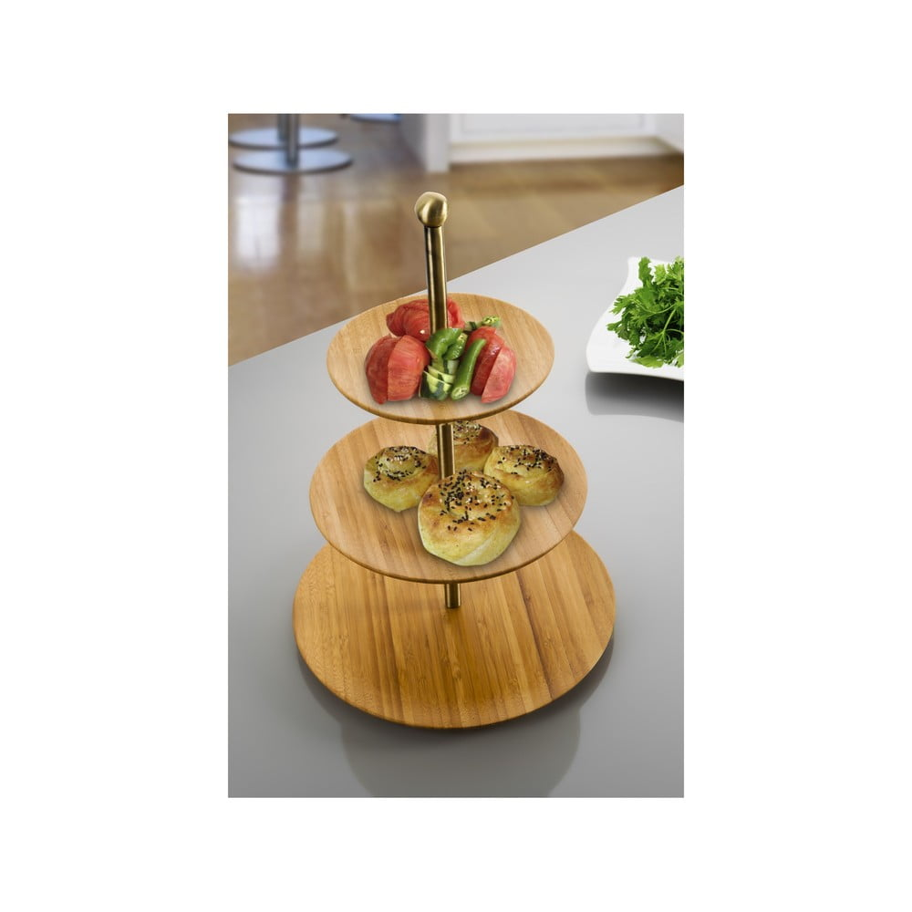 Bambusový třípatrový stojan na dorty Bambum Visso