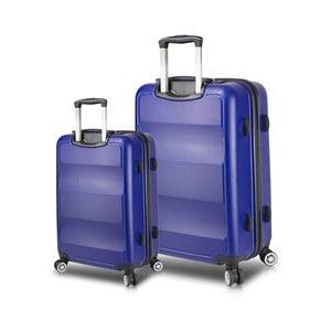 Sada 2 modrých cestovních kufrů na kolečkách s USB porty My Valice LASSO Cabin & Large