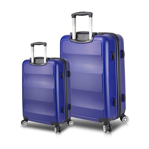 LASSO Cabin & Large 2 kék görgős bőrönd USB csatlakozóval - My Valice