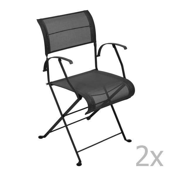 Sada 2 černých skládacích židlí s područkami Fermob Dune