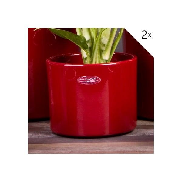 Sada 2 červených květináčů Ovale, 15 cm