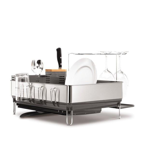 Šedý odkapávač na nádobí simplehuman