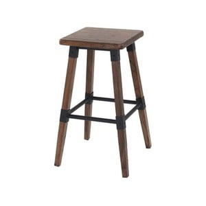 Hnědá stolička z elmového dřeva a kovu VIDA Living Loc