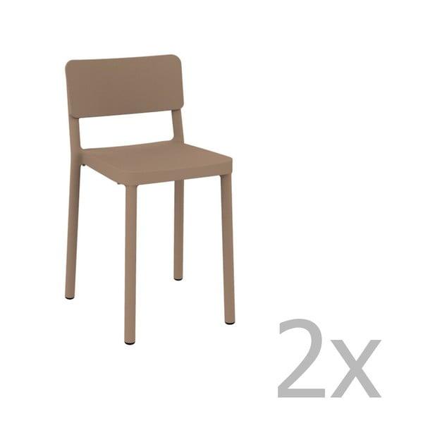 Sada 2 pískově hnědých barových židlí vhodných do exteriéru Resol Lisboa, výška 72,9 cm
