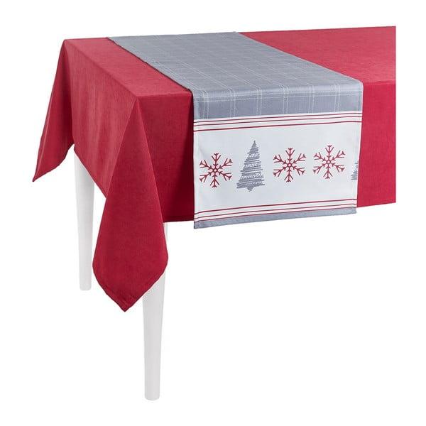 Sivý vianočný behúň na stôl Apolena Honey Snowflakes, 40×140 cm