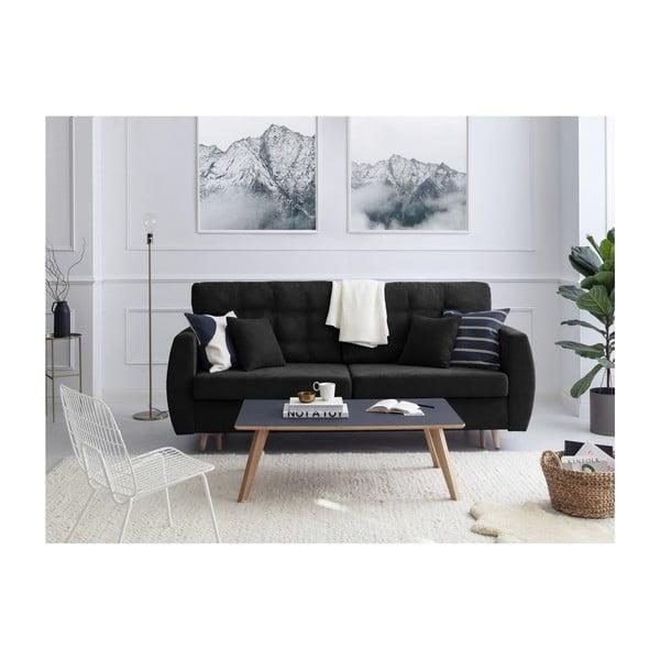 Černá trojmístná rozkládací pohovka s úložným prostorem Cosmopolitan design Amsterdam, 231x98x95cm