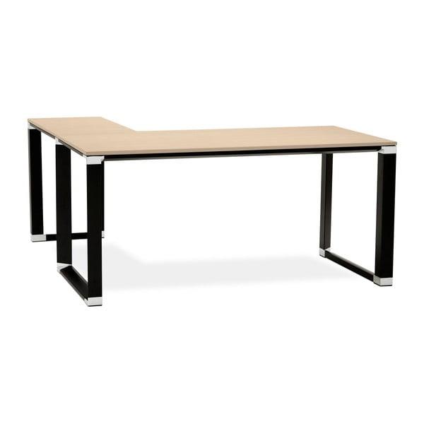 Černý pracovní rohový stůl s přírodní dřevěnou deskou Kokoon Warner