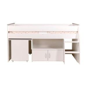 Bílá multifunkční jednolůžková postel Parisot Alleffra, 90x200cm