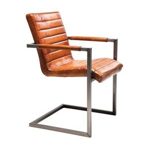 Hnědá kožená židle s pQodručkami Kare Design Cantilever