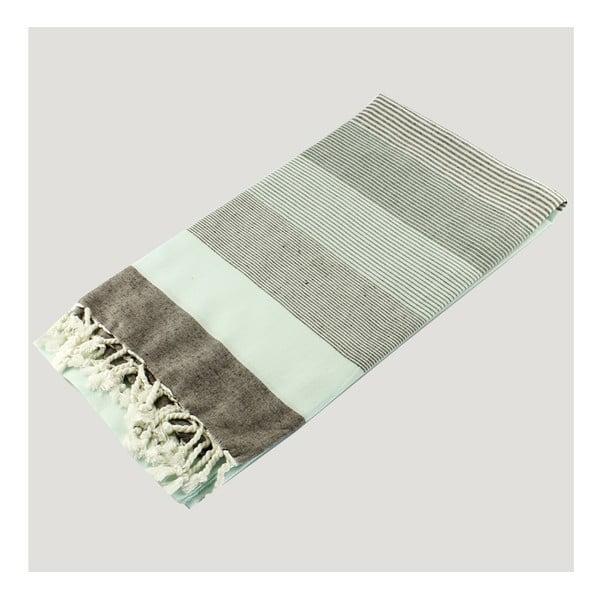 Modrá osuška z čisté bavlny Hammam Strip Style, 90  x  180 cm