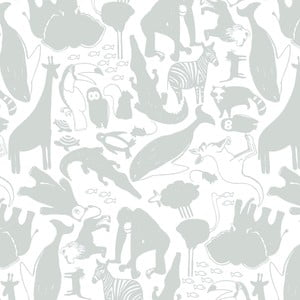 Šedá tapeta do dětského pokoje Art For Kids Animals, 48x1000 cm