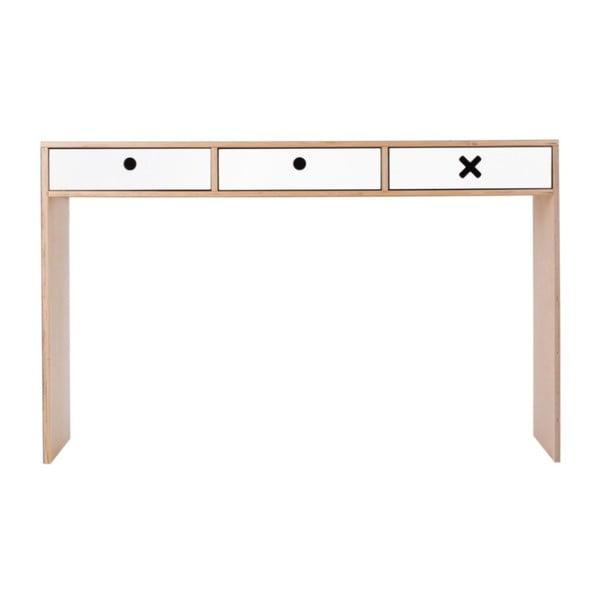 Fehér íróasztal, 3 fiókkal - Durbas Style