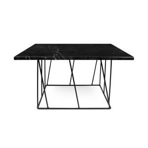 Černý mramorový konferenční stolek s černými nohami TemaHome Helix, 75cm