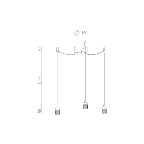 Tři závěsné kabely Uno, černá/stříbrná