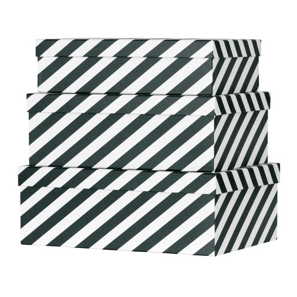 Sada 3 papírových úložných boxů Miss Étoile Black Stripes