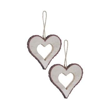 Set 2 decorațiuni suspendate în formă de inimă Ego Dekor, mic
