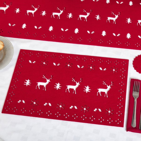 Sada 4 červených prostírání Neviti Reindeer