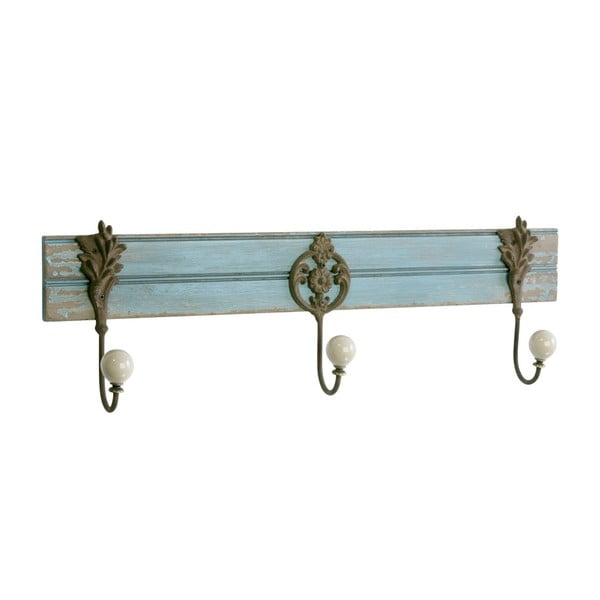 Dřevěný věšák se třemi háčky, antique blue, 59 cm