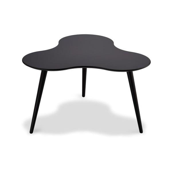Czarny stolik z nogami z drewna bukowego Furnhouse Sky, 80x80 cm