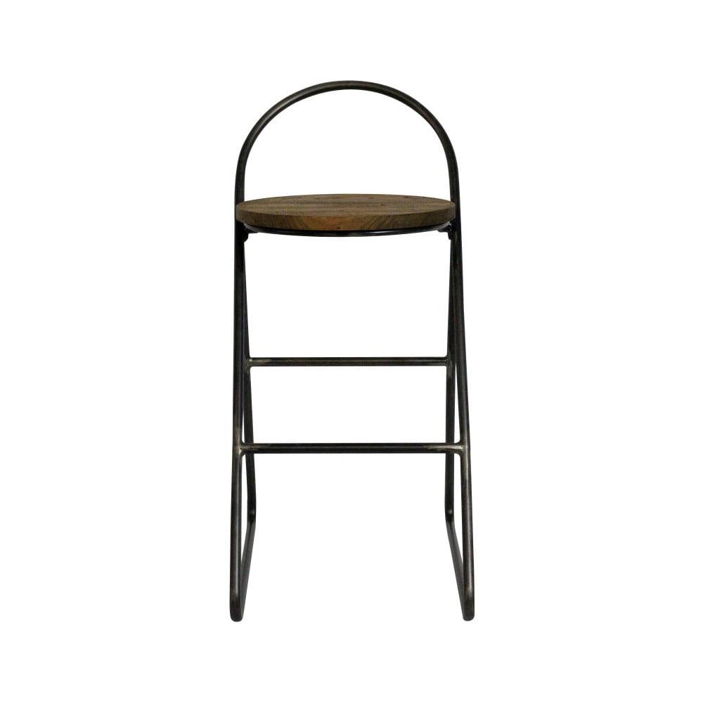 Barová stolička s jilmovým dřevem a kovovou konstrukcí Red Cartel Duke Natural, výška 78cm
