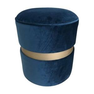 Modrý puf s nohami z borovicového dřeva Simla Velvet Champagne, ⌀40cm