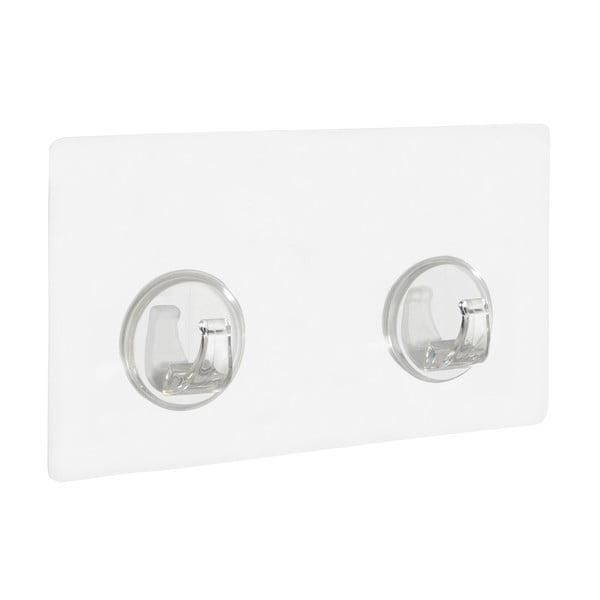 Set 2 cârlige de perete transparente Wenko Static-Loc® Strip