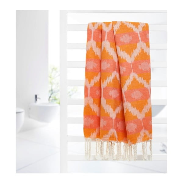 Prosop hammam Begonville Ripple Orange, 95 x 180 cm, portocaliu