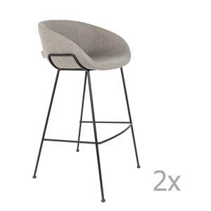 Sada 2 šedých barových židlí Zuiver Feston, výška sedu 76cm