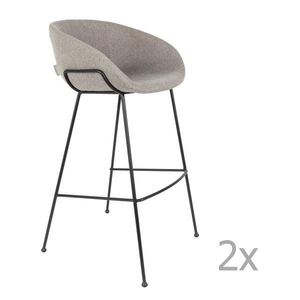 Set 2 scaune bar Zuiver Feston, înălțime scaun 76cm, gri