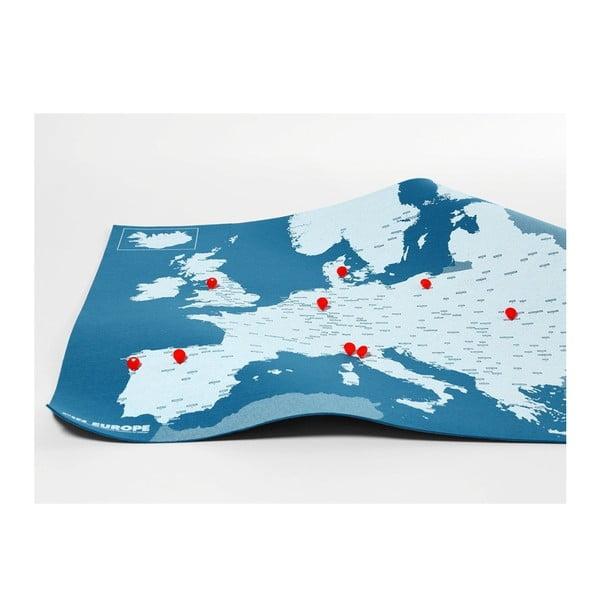Hartă a Europei de perete Palomar Pin World, 100 x 80 cm, albastru