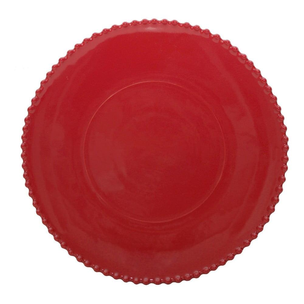 Rubínově červený kameninový servírovací talíř Costa Nova Pearl, ⌀34cm